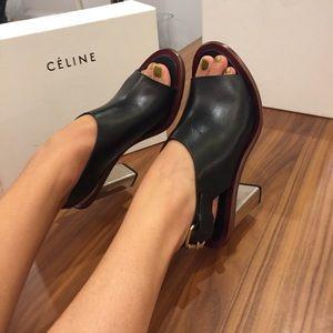 New! Celine Silver Heel, Black Leather High Heels